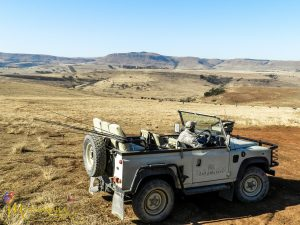 Zulu Waters Land Rover transporting fly fisherman around the estate