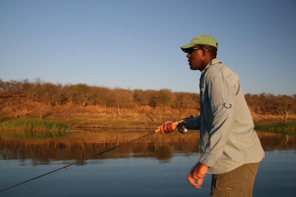 Fly fishing for tigerfish