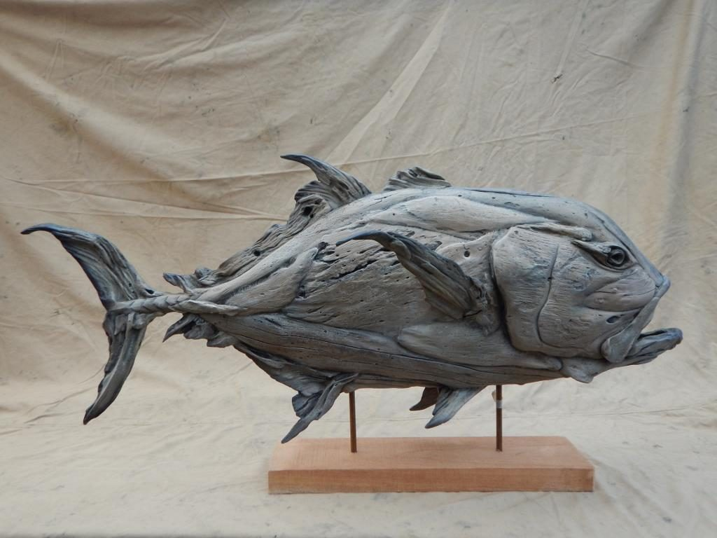 GT sculpture in driftwood